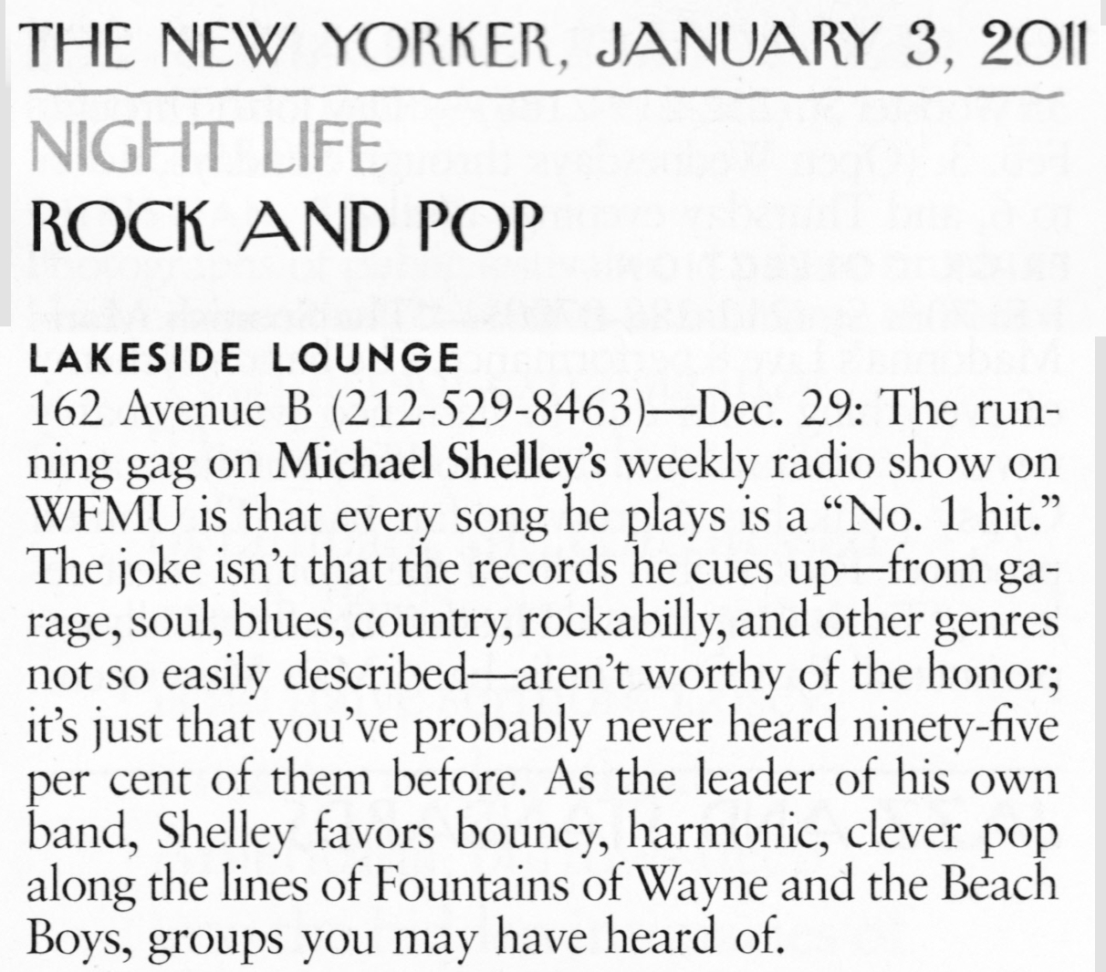 Michael Shelley New Yorker Magazine Lakeside Lounge
