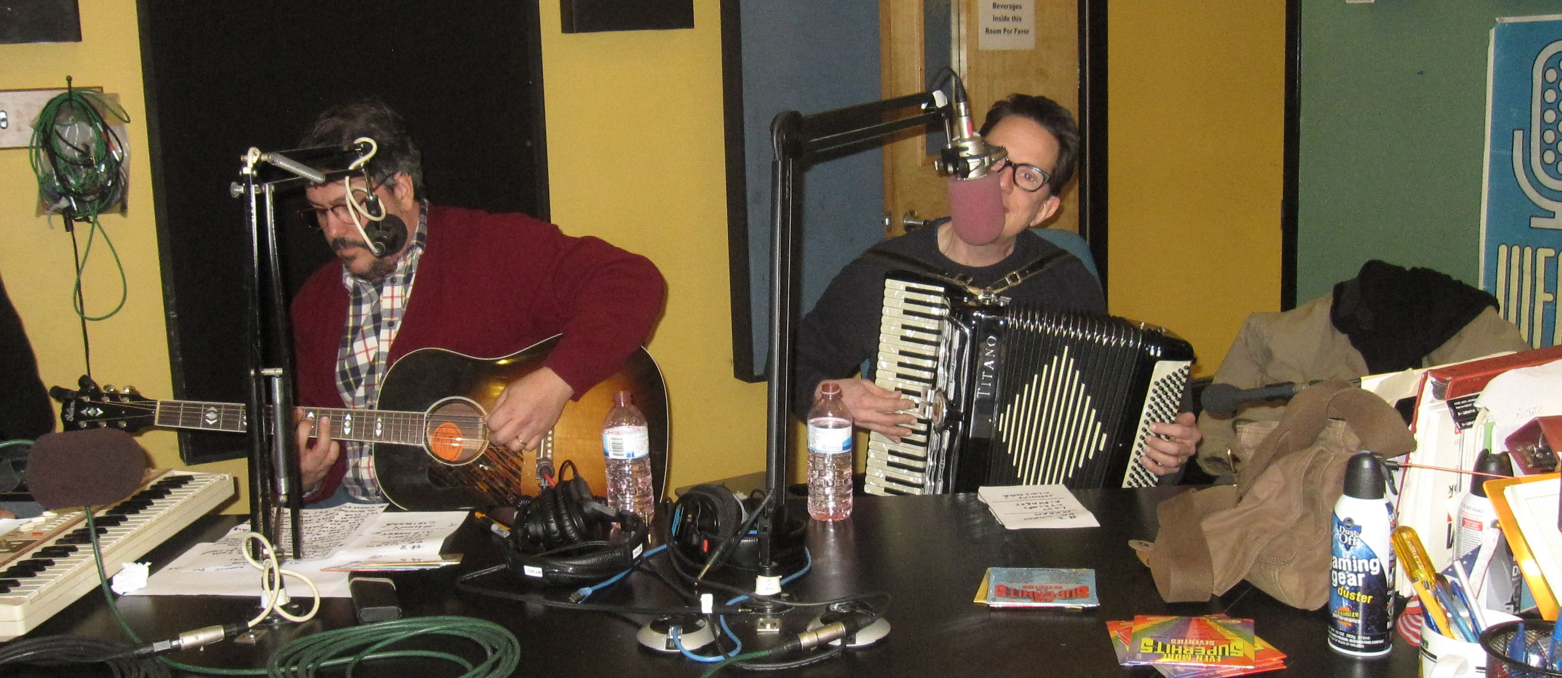 John Linnell, John Flansburgh, Marty Beller of TMBG at WFMU January 10 2015